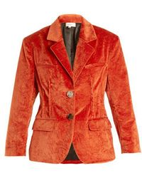 Isa Arfen - Notch-lapel Crushed-velvet Cotton-blend Jacket - Lyst
