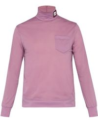 Prada - Logo Patch Roll Neck Top - Lyst