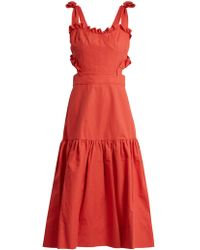 Rebecca Taylor - Cut-out Cotton And Linen-blend Dress - Lyst