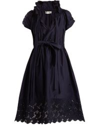 Lanvin | Ruched Cotton And Silk-blend Dress | Lyst