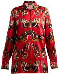 Dolce & Gabbana - Butterfly-print Satin Pyjama Shirt - Lyst