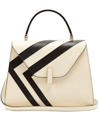 Valextra - Iside Medium Striped Grained-leather Bag - Lyst