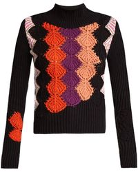 Peter Pilotto - Crochet Panel Ribbed Knit Cotton Blend Sweater - Lyst