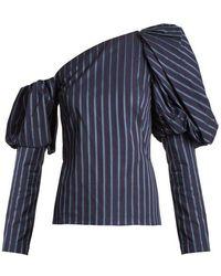 OSMAN - Asymmetric Striped Cotton Top - Lyst