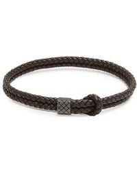 Bottega Veneta - Double Intrecciato-woven Leather Bracelet - Lyst