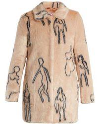 Shrimps - Helga Nude Doodles-print Faux-fur Coat - Lyst