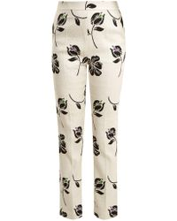 Huishan Zhang - Candice Floral Jacquard Straight Leg Trousers - Lyst