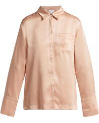 Asceno - Silk Satin Pyjama Shirt - Lyst