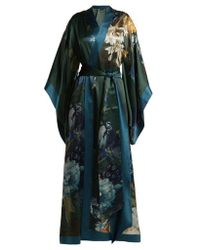 Carine Gilson - - Floral Print Silk Satin Kimono Robe - Womens - Blue Print - Lyst