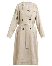 Isa Arfen - Double-breasted Linen Trench Coat - Lyst