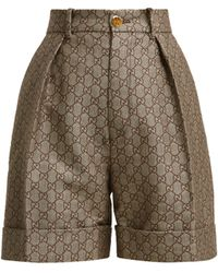 Gucci - Gg High Rise Cotton And Wool Blend Shorts - Lyst