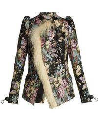 Preen By Thornton Bregazzi - Yulia Shearling-trimmed Floral Jacquard Jacket - Lyst