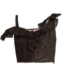 Rebecca Taylor - Malorie Floral-lace Embroidered Silk Top - Lyst