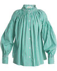 Teija - Smocked-neck Gingham Shirt - Lyst
