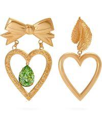 Rodarte - Gold Plated Dangle Heart Earrings - Lyst