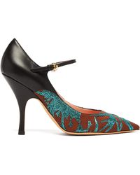 Rochas - Brocade Leather And Canvas Mary Jane Pumps - Lyst
