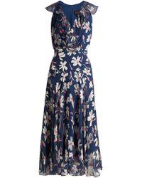Saloni - Rita Floral-devoré Silk-blend Asymmetric Dress - Lyst
