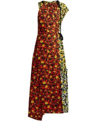 Proenza Schouler - Floral Asymmetric Midi Dress - Lyst