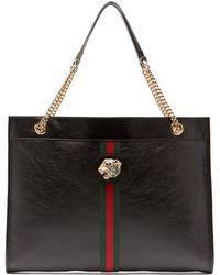 Gucci - Rajah Web Striped Leather Tote Bag - Lyst
