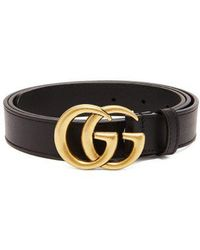 6ae69dfdf6f Gucci Gg Marmont Black Leather Belt in Black for Men - Lyst