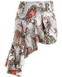 Marques'Almeida - Dragon-print Asymmetric Cotton Skirt - Lyst