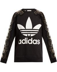 Stella McCartney - Lace Trimmed Logo Print Sweatshirt - Lyst