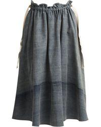 Loewe | Drawstring-waist Cotton-denim Skirt | Lyst