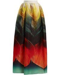 Mary Katrantzou - Nyx Folk-print Silk-organza Maxi Skirt - Lyst