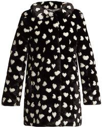 HVN - Courtney Heart-print Faux-fur Coat - Lyst