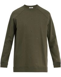Valentino - Eyelet-embellished Raglan Sweatshirt - Lyst