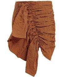 Marques'Almeida - Ruched Gingham Taffeta Skirt - Lyst