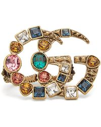 Gucci   Crystal-embellished Gg-logo Double Ring   Lyst