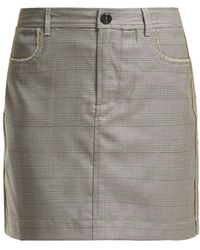 Ganni - Merkel Diamante Checked Silk Blend Skirt - Lyst