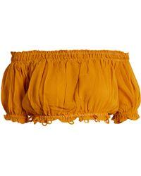 Apiece Apart - Haut raccourci en soie à épaules dénudées Oeste - Lyst