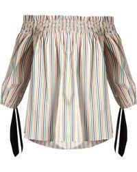 Caroline Constas - Lou Off-the-shoulder Striped Cotton Top - Lyst