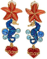Dolce & Gabbana - Seahorse And Heart-drop Clip On Earrings - Lyst