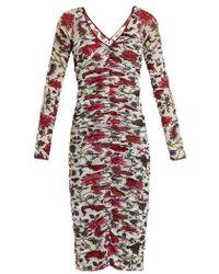 Diane von Furstenberg - Canton-print Ruched Mesh Dress - Lyst