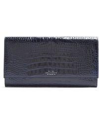 Smythson - - Mara Marshall Crocodile Effect Leather Wallet - Mens - Navy - Lyst