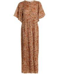 MASSCOB - Floral-print Cotton And Silk-blend Dress - Lyst
