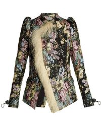 Preen By Thornton Bregazzi - Yulia Shearling Trimmed Floral Jacquard Jacket - Lyst