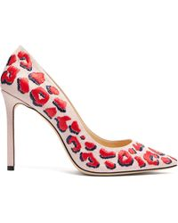Jimmy Choo - Romy 100 Leopard Embroidered Linen Court Shoes - Lyst