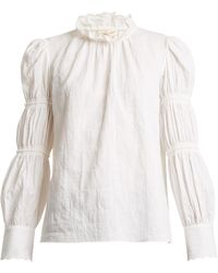 Rebecca Taylor - Ruffle-neck Crinkle-twill Top - Lyst