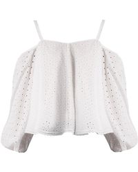 Anna October - Puff Sleeve Off The Shoulder Broderie Anglaise Top - Lyst