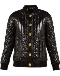 Balmain - Quilted High-shine Bomber Jacket - Lyst