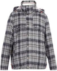 Thom Browne - Tartan Wool And Mohair Blend Coat - Lyst