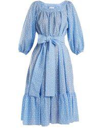 Lisa Marie Fernandez - Floral-embroidered Balloon-sleeve Cotton Dress - Lyst