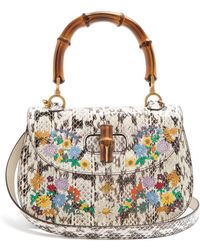Gucci - Embroidered Bamboo Handle Snakeskin Bag - Lyst