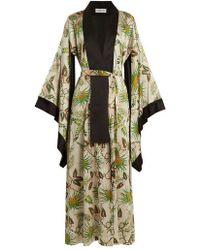 Adriana Iglesias - Anna Reversible Tropical-print Stretch-silk Robe - Lyst