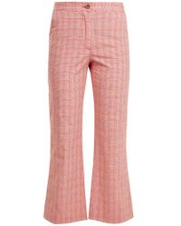 Stella Jean - Checked Cotton-blend Flared Trousers - Lyst