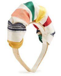 Benoit Missolin - Anais Striped Satin And Raffia-straw Headband - Lyst